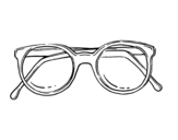 Desenho de óculos de massa redondos para colorear
