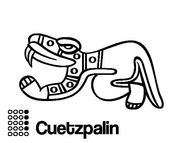 Desenho de Os dias astecas: lagarto Cuetzpalin para Colorir