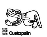 Desenho de Os dias astecas: lagarto Cuetzpalin para colorear
