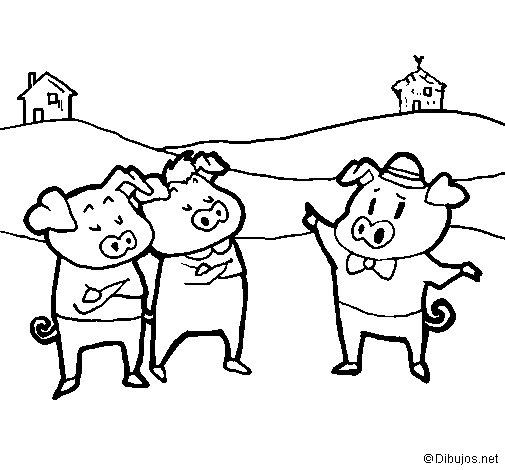 Desenho de Os três porquinhos 5 para Colorir