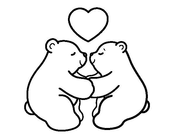 Desenho de Os ursos polares amar para Colorir
