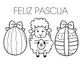 Desenho de Ovelhinha com ovos de páscoa para colorear