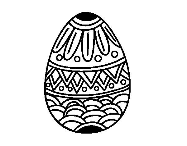 Desenho de  Ovo da páscoa decorado com estampagem para Colorir