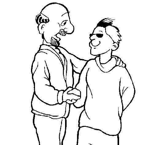Desenho de Pai e filho apertam a mão para Colorir