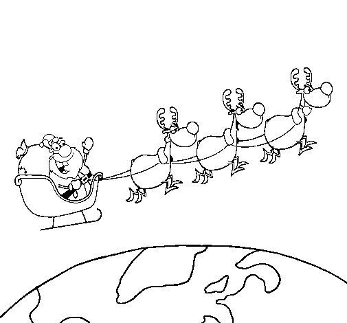 Desenho de Pai Natal a distribuir presentes 3 para Colorir