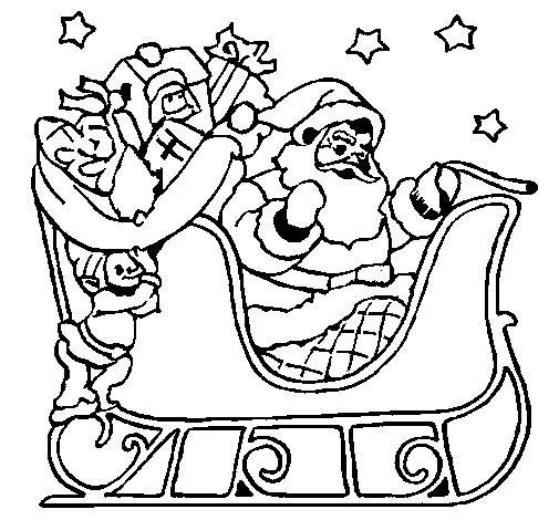 Desenho de Pai Natal no seu trenó para Colorir
