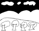 Desenho de Paisagem com montanha para colorear