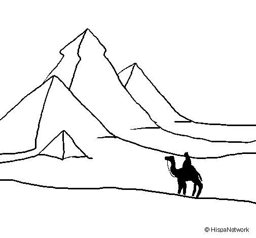Desenho de Paisagem com pirâmides para Colorir