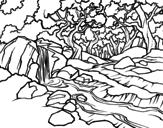 Desenho de Paisagem da floresta com um rio para colorear