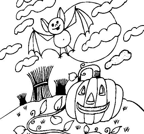 Desenho de Paisagem Halloween para Colorir