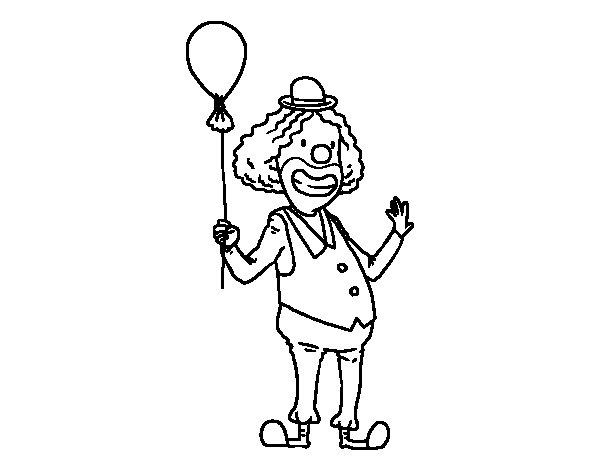 Desenho de Palhaço e balão para Colorir