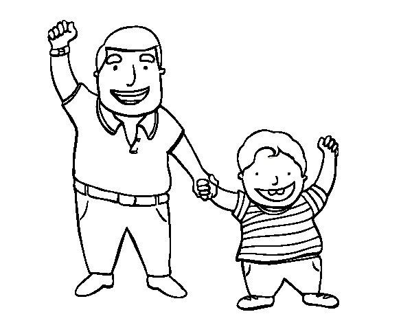 Desenho de Papai e filho para Colorir
