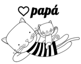 Desenho de Papai gato para colorear