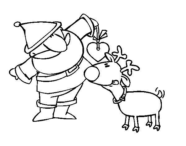 Desenho De Papai Noel E Rudolf Para Colorir