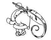 Desenho de Papai Noel escrito para colorear