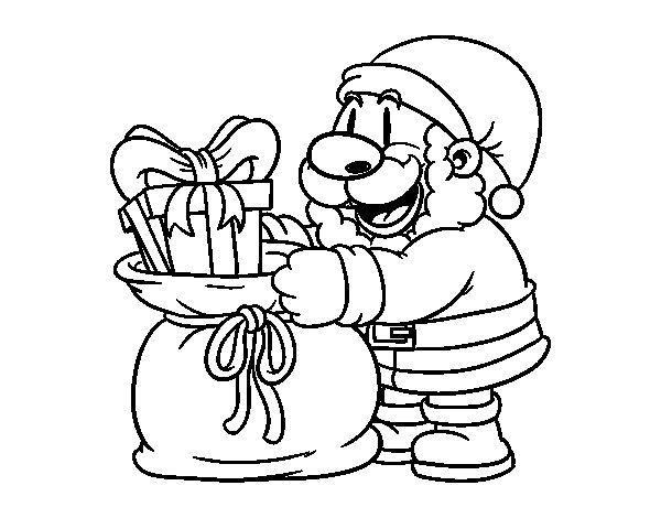 Desenho de Papai Noel que dá presentes para Colorir