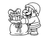 Desenho de Papai Noel que dá presentes para colorear