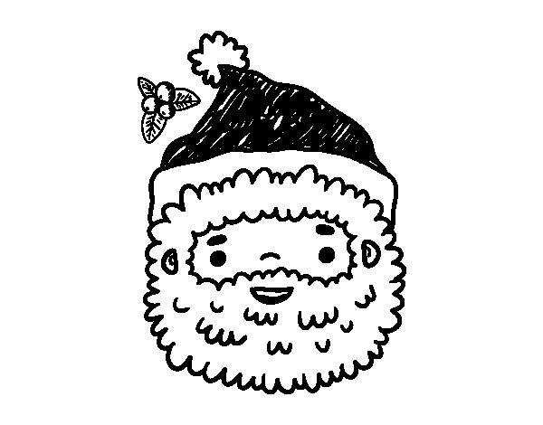 Desenho De Papai Noel Rosto Para Colorir