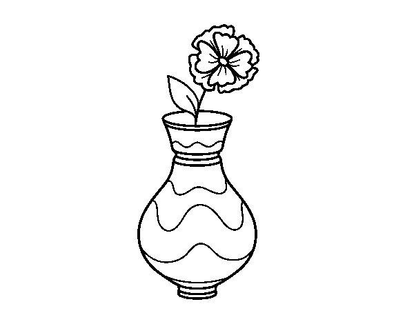 Desenho de Papoula com vaso para Colorir