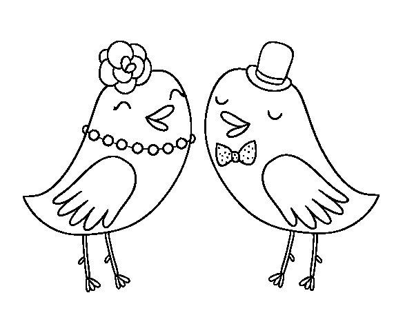 Desenho de Pássaros de casamento para Colorir