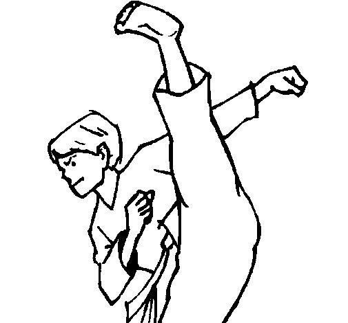 Desenho de Patada de karaté para Colorir