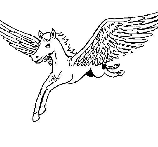 Desenho de Pégaso em voo para Colorir