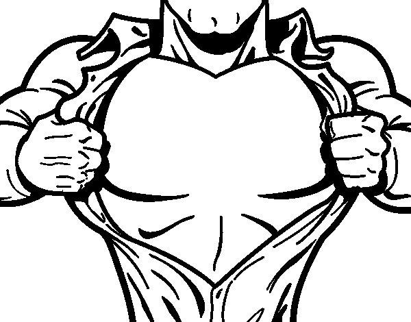 Desenho De Peito De Super Herói Para Colorir