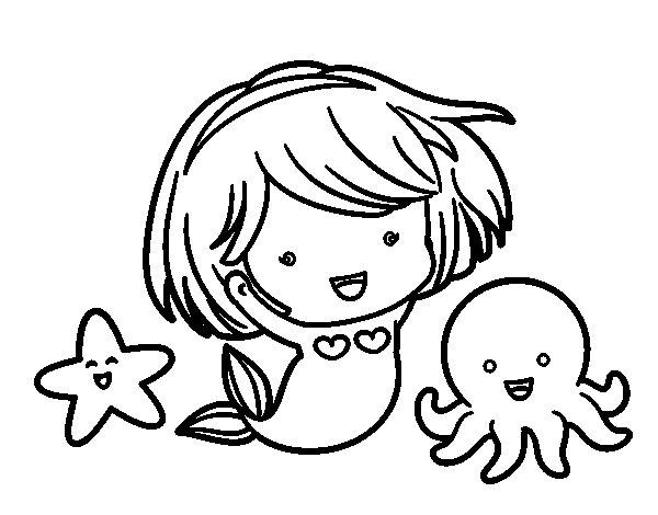 Desenho de Pequena sereia chibi para Colorir