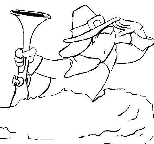 Desenho de Peregrino a olhar para Colorir