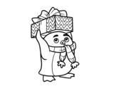 Desenho de Pinguim com presente de Natal para colorear