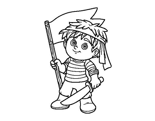 Desenho de Pirata Grumete para Colorir