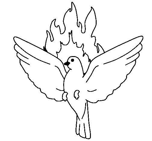 Desenho de Pomba Pentecostal para Colorir