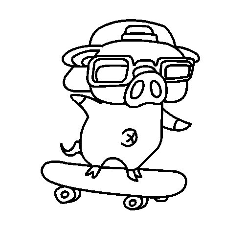 Desenho de Porco graffiti em monopatim para Colorir