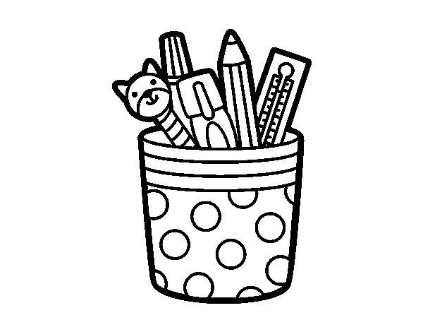 Desenho de Porta lápis para Colorir