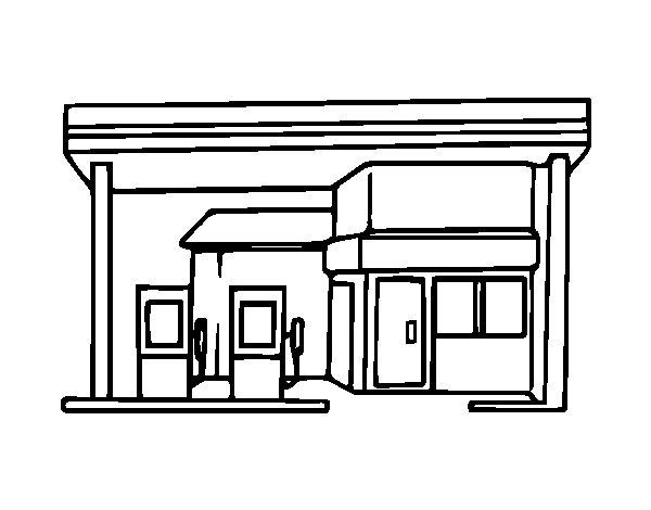 Desenho de Posto de abastecimento para Colorir