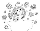Desenho de Princesa borboletas para colorear