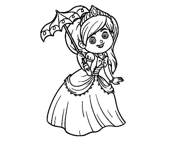 Desenho De Princesa Com Pára-sol Para Colorir