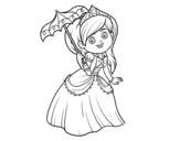 Desenho de Princesa com pára-sol para colorear