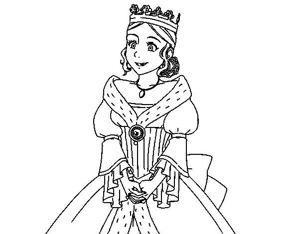 Desenho de Princesa medieval para Colorir