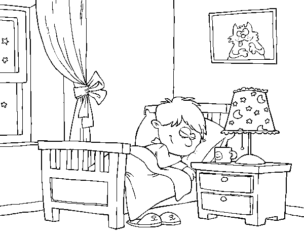 Desenho de quarto para colorir for Coloring pages bedroom furniture
