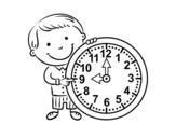 Desenho de Que horas são para colorear