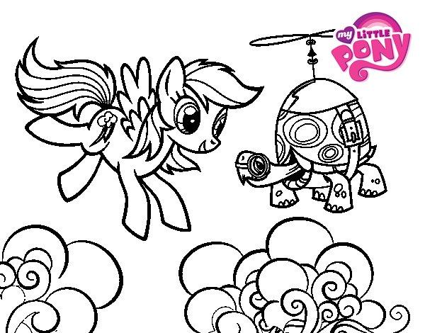 Desenho de Rainbow Dash and Tank Turtle para Colorir