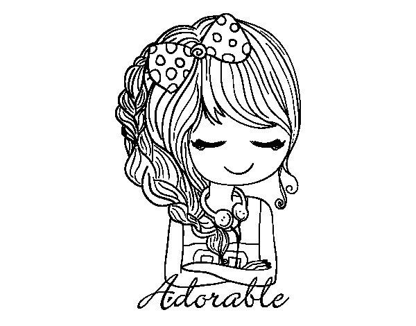 Desenho De Rapariga Adorável Para Colorir