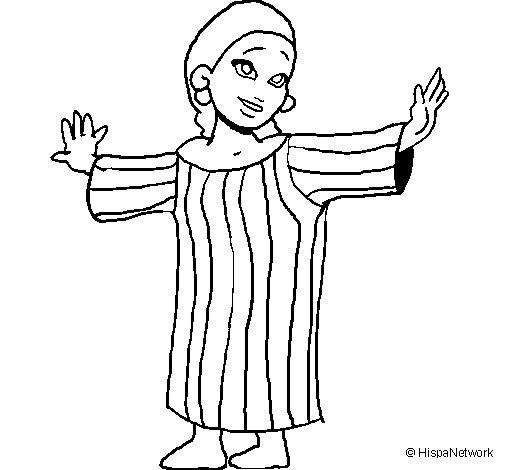 Desenho de Rapariga maia para Colorir