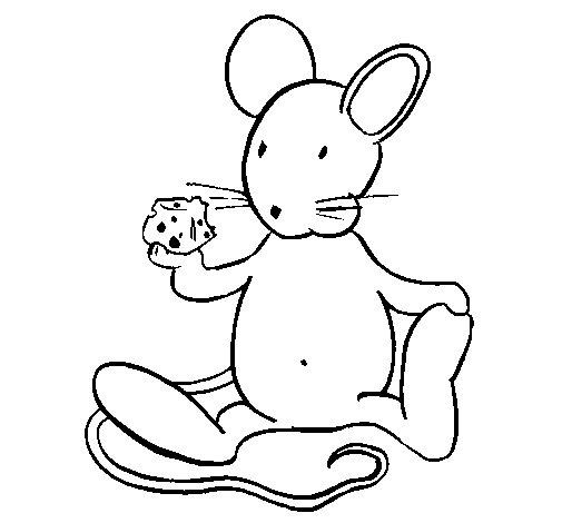 Desenho de Rata com queijo para Colorir