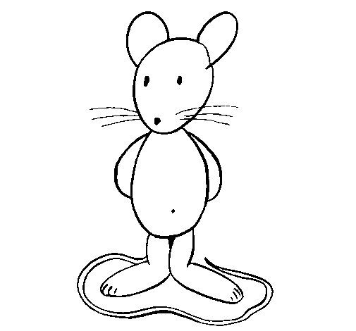 Desenho de Rata de pé para Colorir