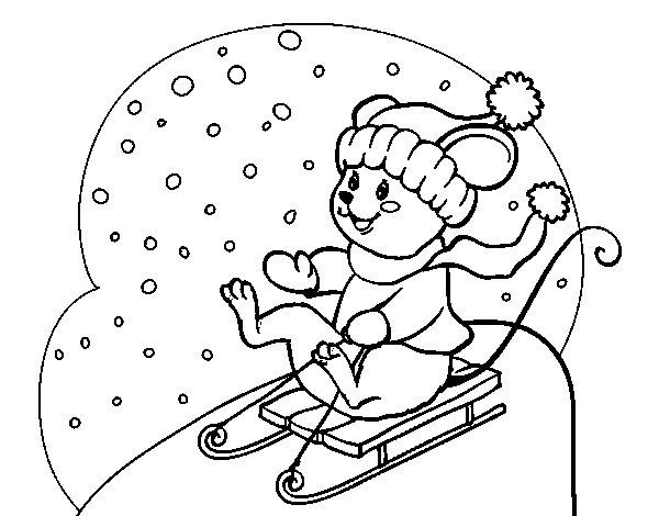 Desenho de Ratita em trenó para Colorir