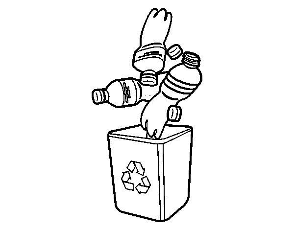 Desenho de Reciclagem de garrafas para Colorir