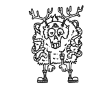 Desenho de Rena zombie para colorear