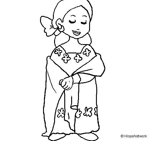 Desenho de Senhora maia  para Colorir